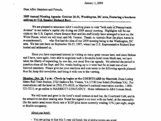Aaron Burr News   2009