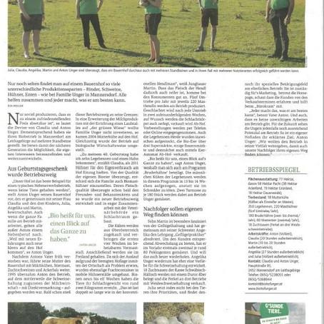 Gelebte Vie(h)lfalt statt Spezialisierung - eine Reportage in der Bauernzeitung über unseren Betrieb