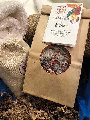 Tea & Herbs Bath Salt w/cotton bag|Spa Gift| Bath Tea|Stress Relief Tea Bath