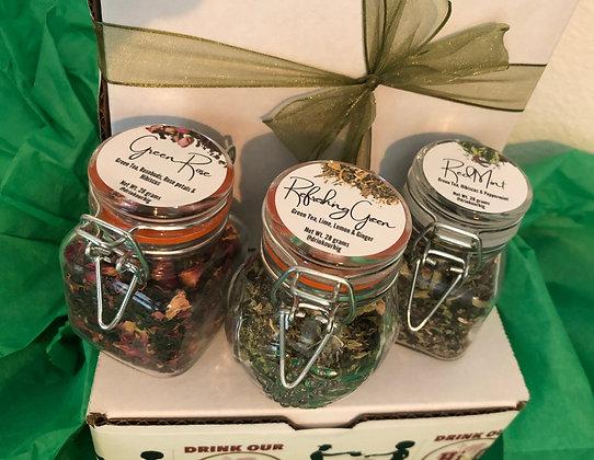 Go Green - Tea Gift Box - 3 tea blends (3.5oz glass  jar/blend)