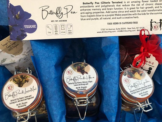 Sing the Blues - Butterfly Pea Tea Gift Box - 3 blends(3.5oz glass  jar/blend)