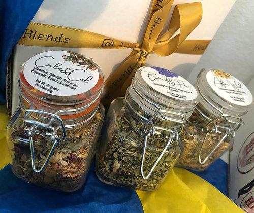 Keep Calm -Tea Gift Box - 3 tea blends (3.5oz glass  jar/blend)