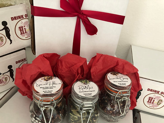 Hibiscus Trio - Tea Gift Box - 3 tea blends (3.5oz glass  jar/blend)