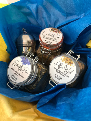 Chamomile/Butterfly Pea Gift Box-(Keep Calm)w/Rose Petals, Lavender, Mint, Lemon
