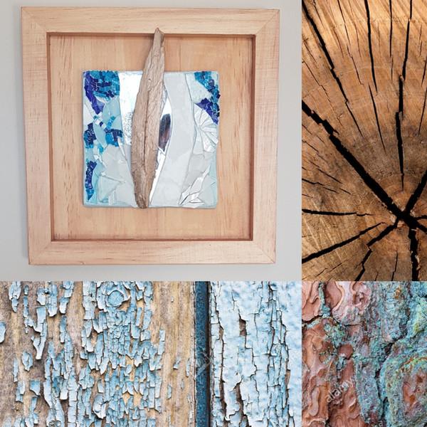 Tableau mosaïque verre vitrail et et bois flotté