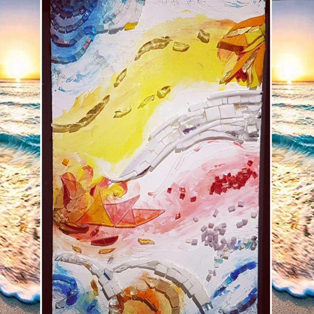 Tableau mosaïque et or