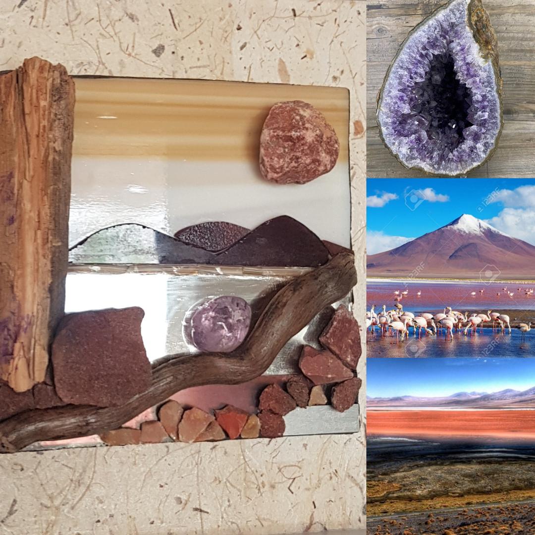 Tableau mosaïque améthyste, pierre et bois flotté