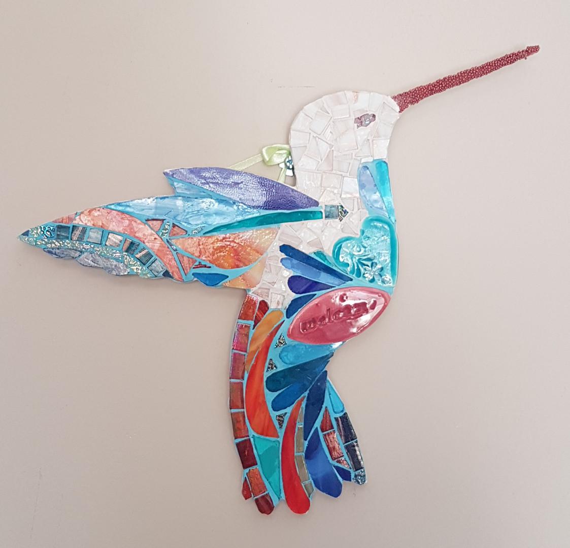 Colibri mosaïque vrre vitrail Welcome