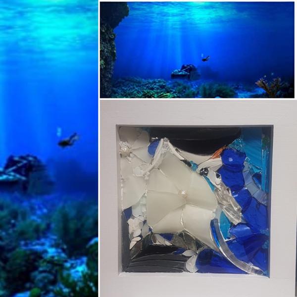 tableau mosaïque océan, mer, fleurs marines
