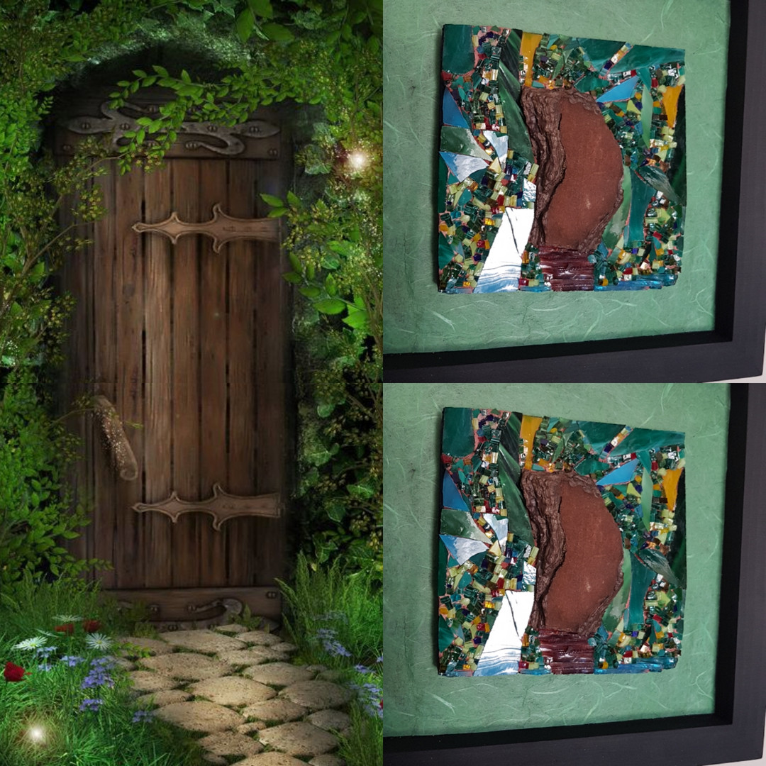 Tableau mosaïque verre vitrail et écorce de bois