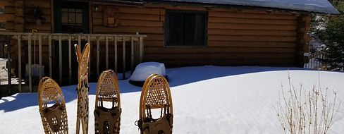 Snowshoes and cabins