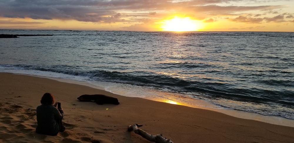 Kauai sunrise sand beach Wailua