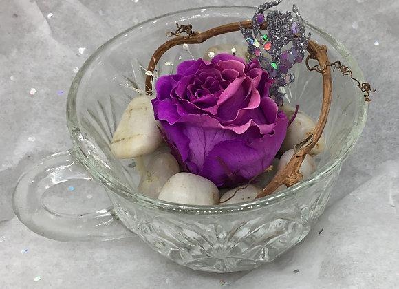 Preserved Purple Rose Teacup