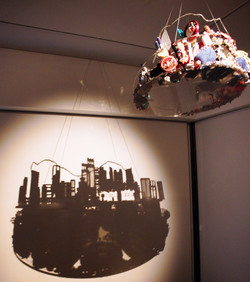 Object Landscape- Tsuen Wan, 2015, Thread, beads, Ribbons, Perspex, Wires, Diameter 60cm