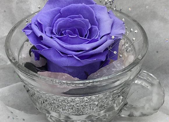 Deep Purple Preserved Rose Teacup