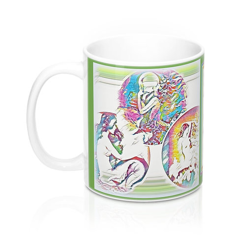 Lime Green Trio of Mermaids Coffee Mug Hippie BOHO Chic Beachy Kitchen Decor