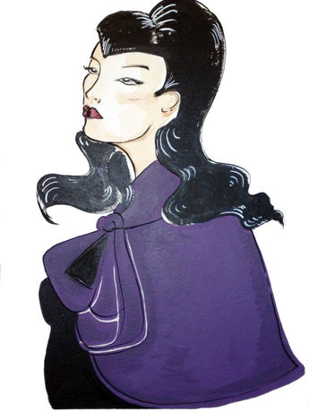 Crepe purple cape.Rags to Bitches 1940's collection.