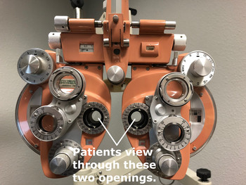 Using the phoropter at Northwest Vision Development Center, our optometrist, Dr. Peter Charron  can have the patient view through special lenses to measure glasses prescriptions.