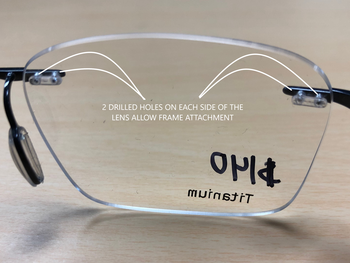 drill mounted eyeglasses frame