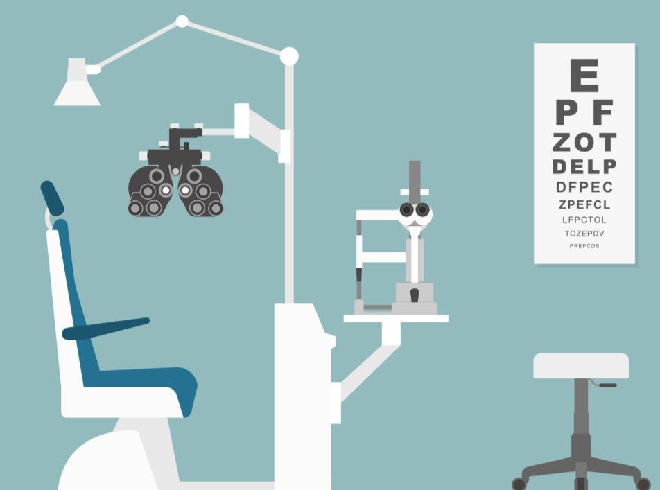 eye exam room with slit lamp biomicroscope, visual acuity testing and phoropter commonly found at eye doctors office.