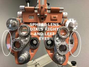 A phoropter with lenses at Northwest Vision Development Center in Bellingham, WA shows how to measure myopia and hyperopia.