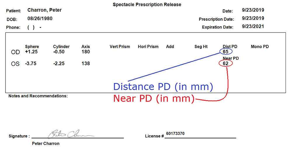 finding the PD measurement on your glasses prescription.