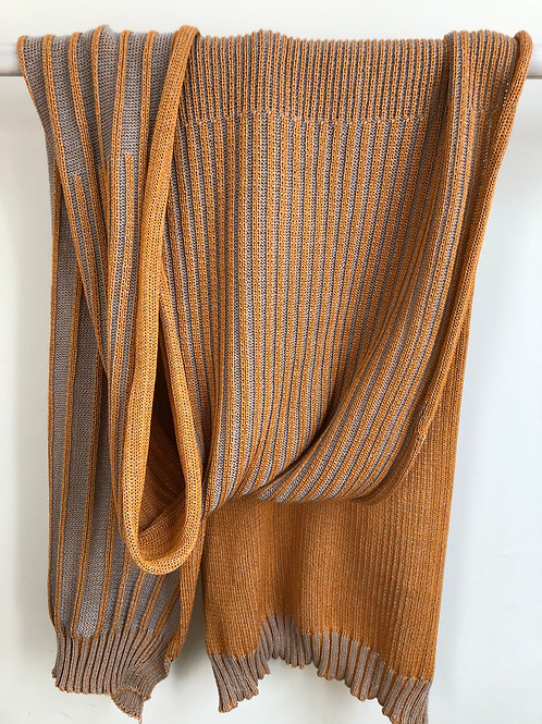 reliëf sjaal  lichtgrijs-goud oranje
