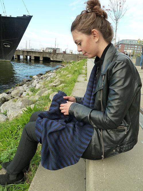 Ikat sjaal blauw-zwart