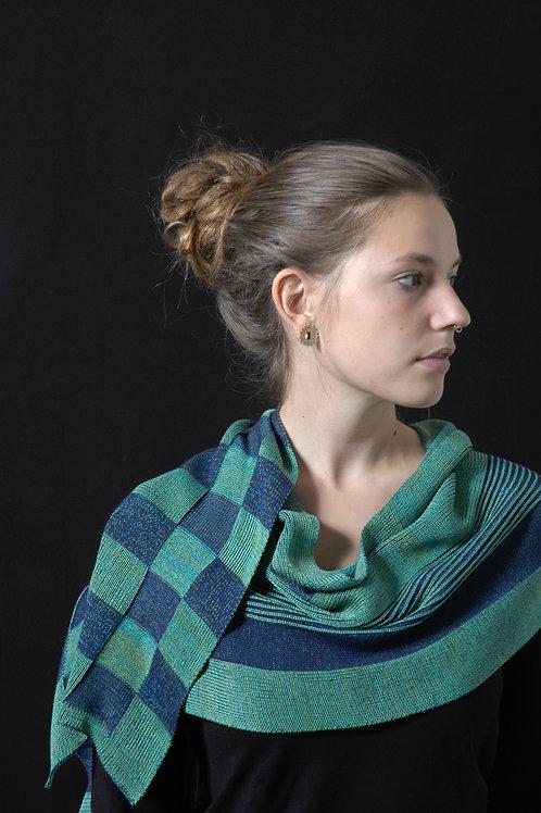 Reliëf sjaal aquamarijn