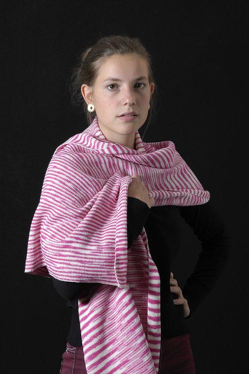 Ikat sjaal flamingo roze - wit