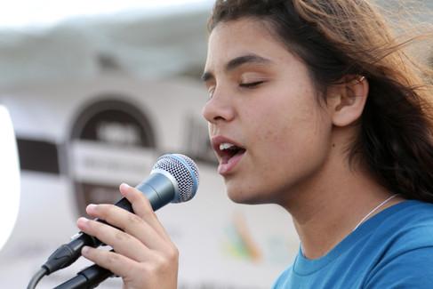 Open mic singer