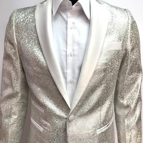 Metallic White (Shiny) Self Textured Tuxedo Jacket
