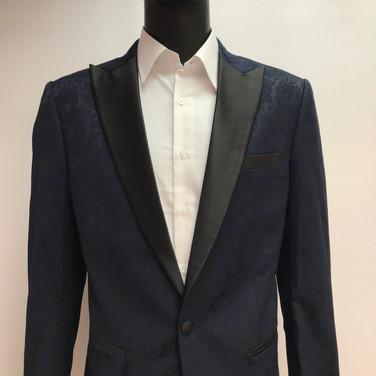 Navy Self Textured Tuxedo Jacket