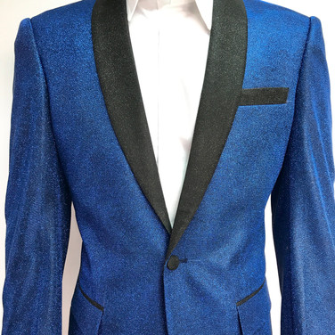Metallic Blue (Shiny) Self Textured Tuxedo Jacket