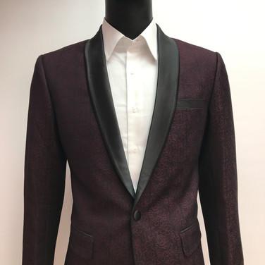 Wine Self Textured Tuxedo Jacket