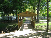 The covered bridge to the woods area