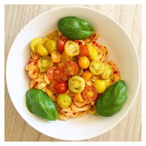 Recette : Tagliatelles tomate, ail et basilic