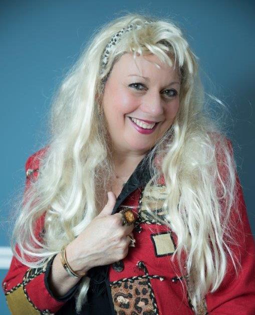 Niki as Burney Madeoff's floozy in the Swindled escape room.