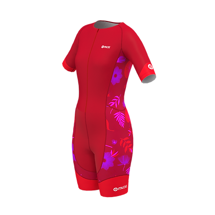 Female PERFORMANCE Trisuit Red Garden