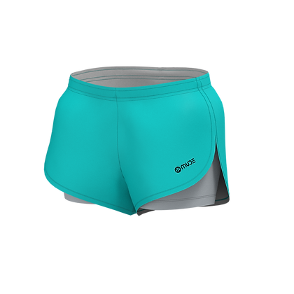 Women's All in One Running Turquoise Shorts
