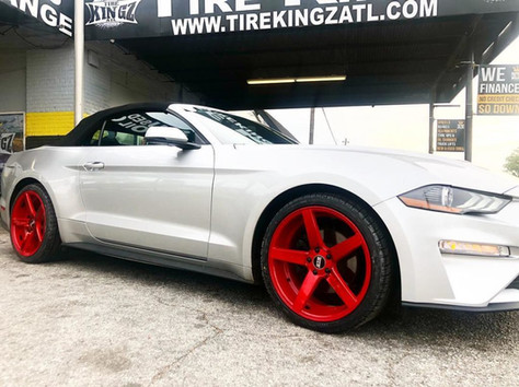 """Ford Mustang on 20"""" red STR Racing wheels"""