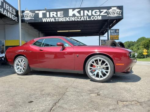 "Dodge Challenger on 22"" Hellcat wheels"