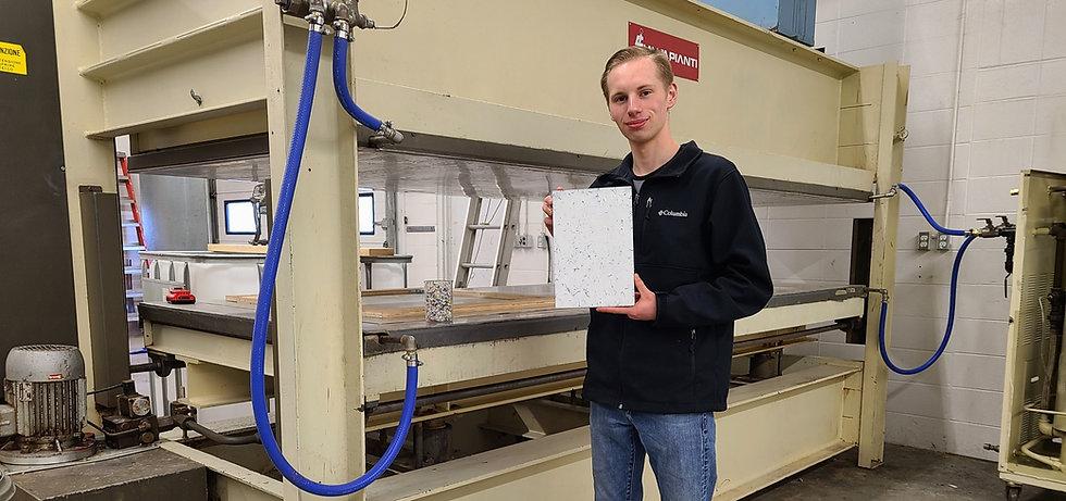 Myles Peterson Holding Terra-Panel Sample