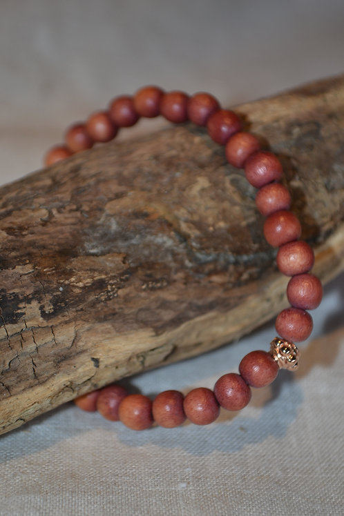 Holzarmband mit rosegold Detail