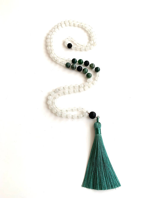 Gratitude Mala-White Jade with Indian Agate