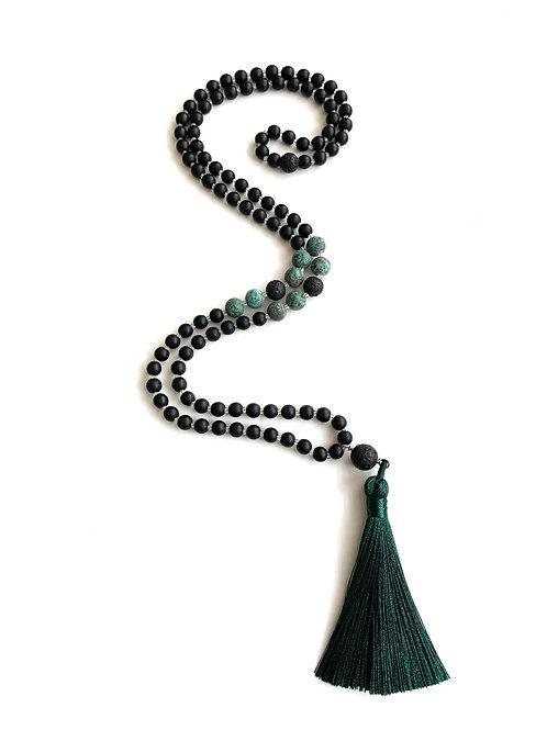 Gratitude Mala-Black Onyx with African Turquoise