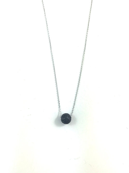 Sterling Silver Lava Necklace - Round