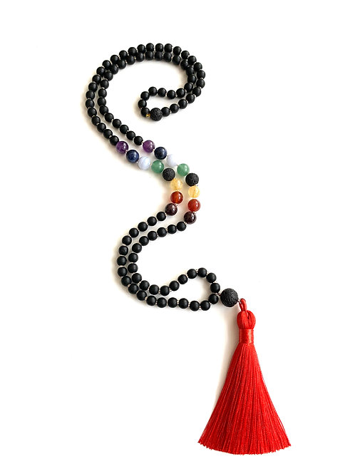 Gratitude Mala-Black Onyx with Mixed Stones