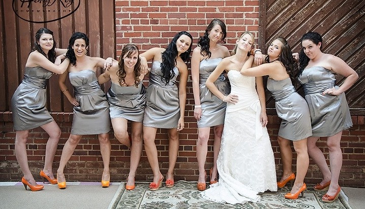 Silver dresses, imitating pose from Bridesmaids movie