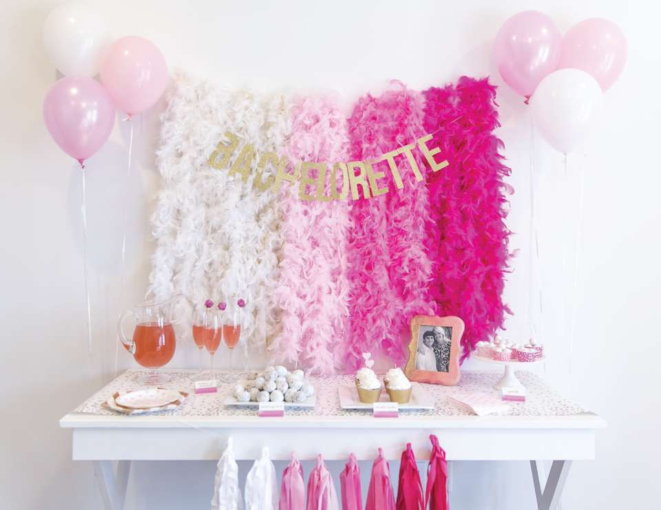 feather boas and balloons